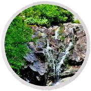 Round Beach Towel featuring the photograph Silver Cascade by Barbara S Nickerson