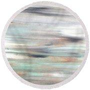 Silver Coast #25 Silver Teal Landscape Original Fine Art Acrylic On Canvas Round Beach Towel
