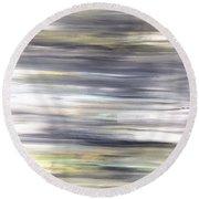 Silver Coast #26 Silver Teal Landscape Original Fine Art Acrylic On Canvas Round Beach Towel