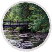 Silver Creek Falls #38 Round Beach Towel