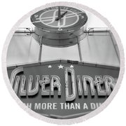 Round Beach Towel featuring the photograph Silver Diner Bw by John S