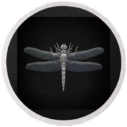 Round Beach Towel featuring the digital art Silver Dragonfly On Black Canvas by Serge Averbukh