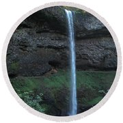 Round Beach Towel featuring the photograph Silver Falls by Thomas J Herring