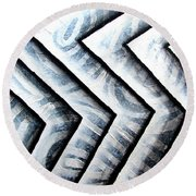 Silver Glass Waves Study 1  Round Beach Towel