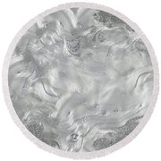 Silver Gray Abstract Minimalist Painting  Round Beach Towel