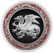 Silver Icelandic Dragon  Round Beach Towel