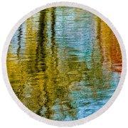 Silver Lake Autum Tree Reflections Round Beach Towel