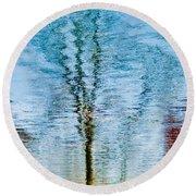 Silver Lake Tree Reflection Round Beach Towel