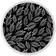 Silver Leaf Pattern 2 Round Beach Towel