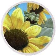 Silver Leaf Sunflower Growing To The Sun Round Beach Towel
