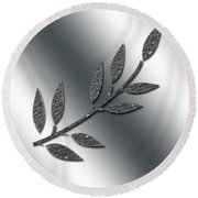 Silver Leaves Abstract Round Beach Towel