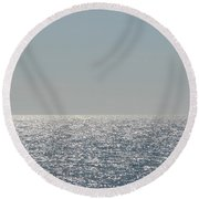 Silver Light On Lake Michigan Round Beach Towel