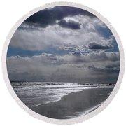 Round Beach Towel featuring the photograph Silver Linings Trim The Sea by Lynda Lehmann