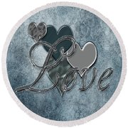 Silver Love Round Beach Towel