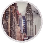 Round Beach Towel featuring the photograph Silver Majesty - Chrysler Building New York by Miriam Danar
