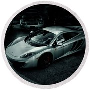 Round Beach Towel featuring the photograph Silver Mclaren by Joel Witmeyer
