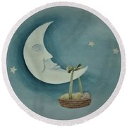 Silver Moon With Picnic Basket Round Beach Towel