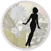 Silver Paper Doll Round Beach Towel