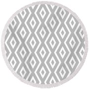 Round Beach Towel featuring the mixed media Silver Pattern by Christina Rollo