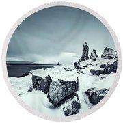 Silver Skye Round Beach Towel