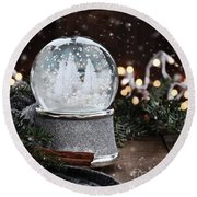 Silver Snow Globe Round Beach Towel by Stephanie Frey