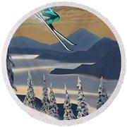 Silver Star Ski Poster Round Beach Towel
