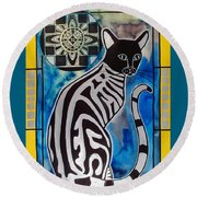 Silver Tabby With Mandala - Cat Art By Dora Hathazi Mendes Round Beach Towel by Dora Hathazi Mendes