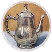 Silver Teapot Round Beach Towel