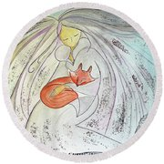 Round Beach Towel featuring the painting Silver Threads by Gioia Albano