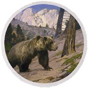 Silver Tip Grizzly Bear - Rocky Mountains, Alberta Round Beach Towel