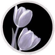 Silver Tulips Round Beach Towel