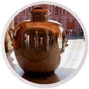 Silver Water Urn Jaipur Round Beach Towel