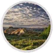 Simi Valley Overlook Round Beach Towel by Endre Balogh