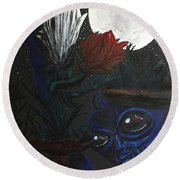 Round Beach Towel featuring the painting Similar Alien Appreciates Flowers By The Light Of The Full Moon. by Similar Alien
