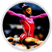 Simone Biles Round Beach Towel by Brian Reaves