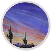 Simple Desert Sunset Three Round Beach Towel