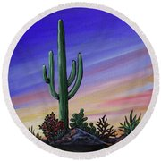 Simple Desert Sunset Two Round Beach Towel