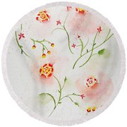 Simple Flowers #2 Round Beach Towel