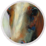 Simple Horse Round Beach Towel by Frances Marino