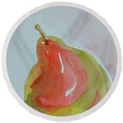 Round Beach Towel featuring the painting Simple Pear by Beverley Harper Tinsley