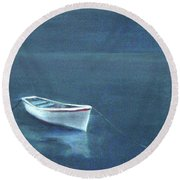 Simple Serenity - Lone Boat Round Beach Towel