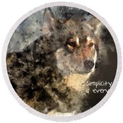 Simplicity Is Everything -light Round Beach Towel by Elaine Ossipov