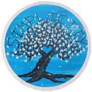 Round Beach Towel featuring the drawing Simplicity Love Tree by Aaron Bombalicki