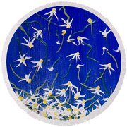 Round Beach Towel featuring the painting Simplicity by Teresa Wegrzyn