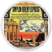 Simplon - Orient Express  Round Beach Towel