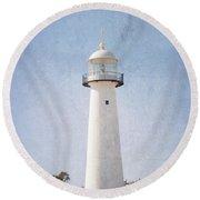 Simply Lighthouse Round Beach Towel
