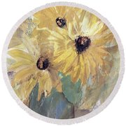 Round Beach Towel featuring the painting Simply Sunflowers  by Robin Maria Pedrero