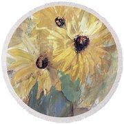 Simply Sunflowers  Round Beach Towel