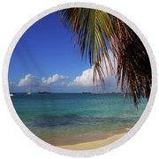 Simpson Bay Palm Tree Caribbean St Martin Round Beach Towel