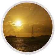 Simpson Bay Sunset Saint Martin Caribbean Round Beach Towel